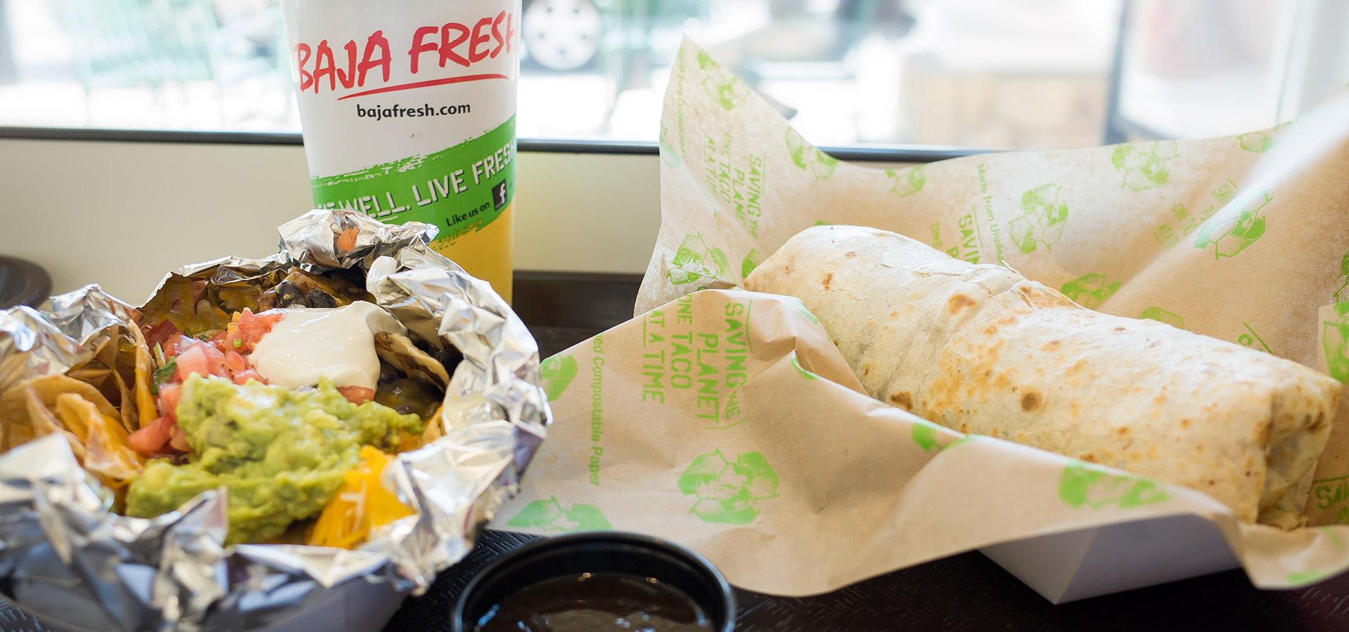 Baja Fresh burrito and nachos